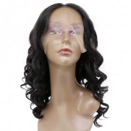 Beautiful Attractive Long Curly Black 100% Human Hair Lace Frontal Wig
