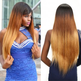 UNice Long Three Tone Ombre Straight Hair Wigs