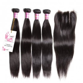 UNice Peruvian Straight Virgin Hair With Closure 4 Thick Bundles