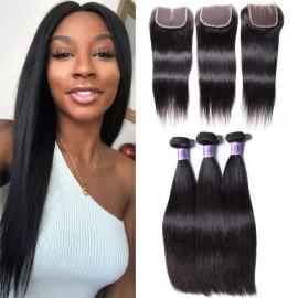 UNice Hair Kysiss Series Brazilian Straight Virgin Hair 3 Bundles With Lace Closure