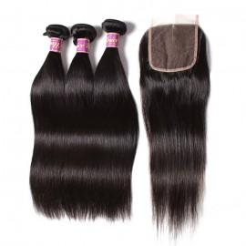 UNice 3pcs Malaysian Straight Virgin Hair Bundles With Lace Closure