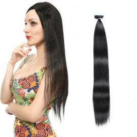 UNice 20pcs 50g Straight Tape In Hair Extensions #1B Natural Black