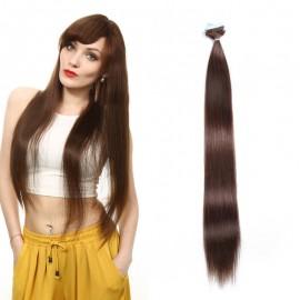 UNice 20pcs 50g Straight Tape In Hair Extensions #4 Medium Brown 100% Virgin Hair