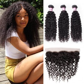 UNice-Icenu 3pcs Jerry Curly Hair Weft With Lace Frontal Closure