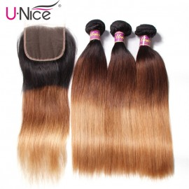 UNice Hair Icenu Series Hair 3 Bundles Straight Hair With Closure 100% Ombre Virgin Human Hair