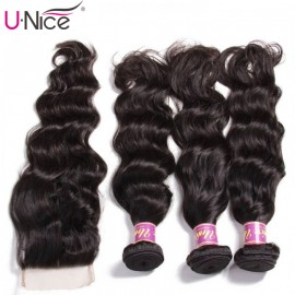 UNice 3 Bundles Natural Wave Virgin Hair With Lace Closure