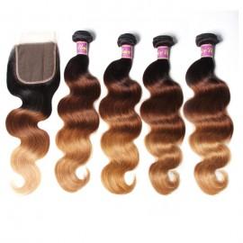 UNice Hair T1B/4/27 Ombre 4 Bundles Body Wave