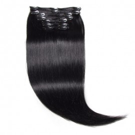 UNice 115g #1 Jet Black Clip In Hair Extensions Virgin Hair 8Pcs/set
