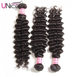 UNice Cheap Malaysian Hair Weaving 12-26 Inches 3pcs/Lot Deep Wave