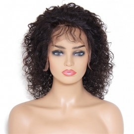 Free Part Kinky Curly Medium Length Hair Lace Front Cap African American Wigs 12 Inches