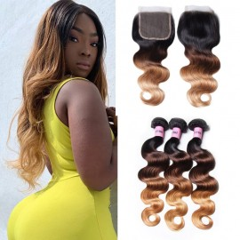 UNice Hair T1B/4/27 Ombre 3 Bundles Body Wave With Closure 100% Virgin Human Hair