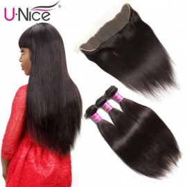 UNice 3 Bundles Straight Human Hair With Lace Frontal Closure