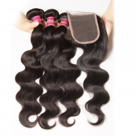 UNice Peruvian Body Wave Lace Closure With 3pcs Human Hair Weave