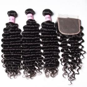 UNice Hair Icenu Series 3 Bundles Virgin Deep Wave Human Hair With Lace Closure