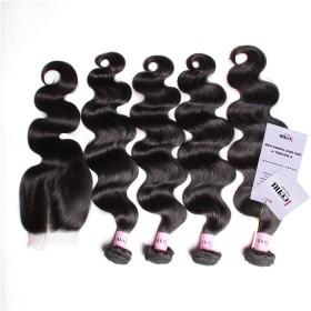 UNice Hair Icenu Series Peruvian Body Wave Lace Closure With 4pcs Hair Bundles