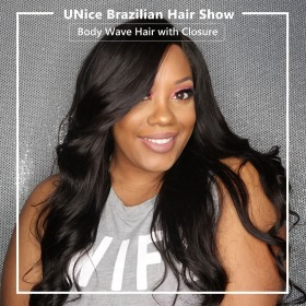UNice 3 Bundles Brazilian Body Wave With Lace Closure