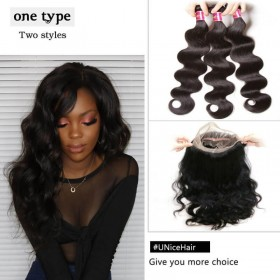 UNice Hair Icenu Series 3 Bundles Body Wave Virgin Hair With 360 Lace Frontal Closure