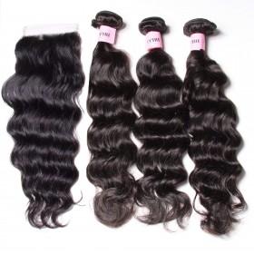 UNice Hair Icenu Series 3 Bundles Natural Wave Virgin Hair With Lace Closure