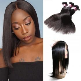 UNice Hair Icenu Series 3 Bundles Straight Human Virgin Hair With 360 Lace Frontal Closure
