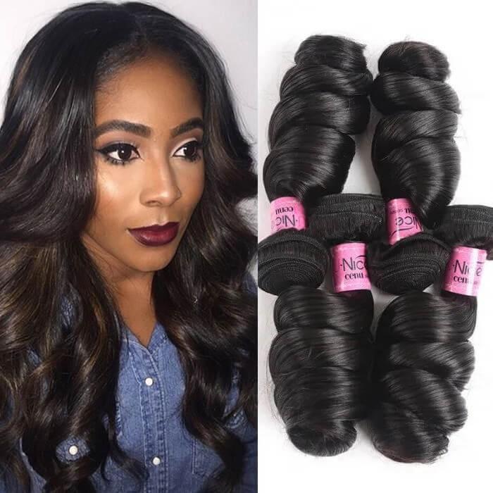 UNice Cheveux Icenu Série PéruvienneLoose Wave Vierge des Cheveux Trame 4 pcs / paquet