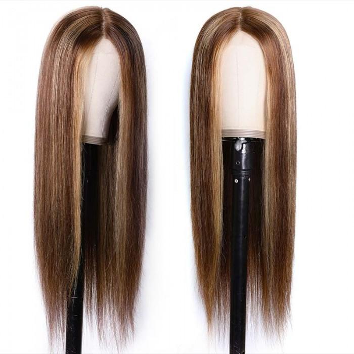 France Uniquement UNice Perruque Lisse Couleur 4/12 avec Hairline Naturelle Invisible 150% densité Bettyou Séries