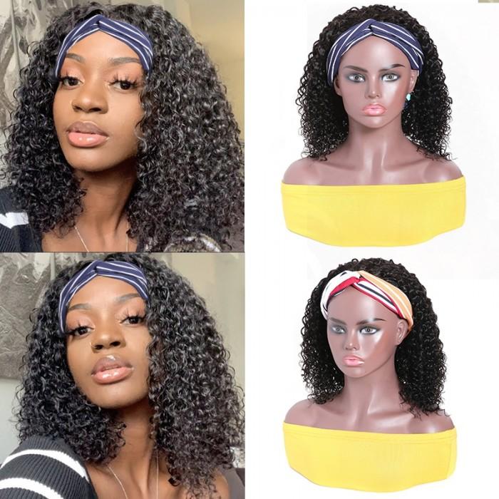 UNice Top Qualité Perruque Bandeau Courte Bob Bouclé Naturelle Couleur Humain Cheveux 150% Densité