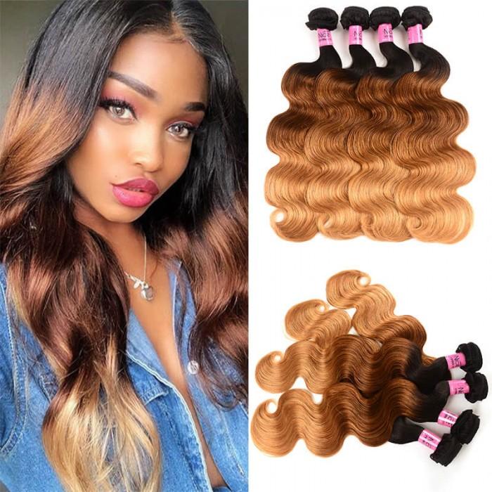UNice Cheveux Icenu Séries 4 Paquets Brésilien Ombré Body Wave Cheveux Vierges Humains