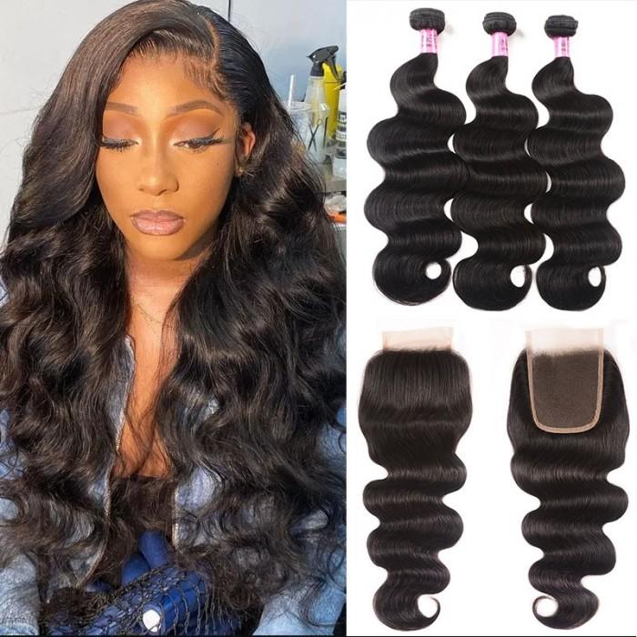 Unice cheveux Icenu série Body cheveux vague 3 Non traité Bundles avec lacets de fermeture