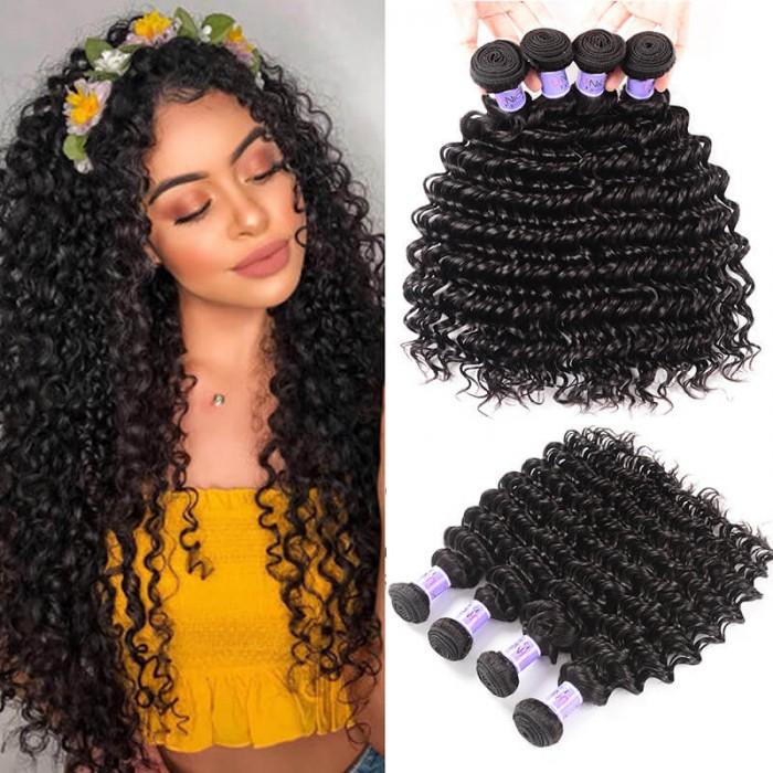 UNice Cheveux Kysiss Séries Péruviens Deep Wave Extensions de Cheveux 4pcs/Lot