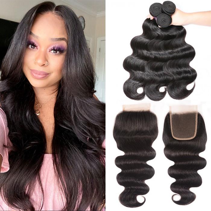 UNice Cheveux Kysiss Série Brésilien Body Wave Virgin+  3 Paquets cheveux humains avec Closure en dentelle pas chers
