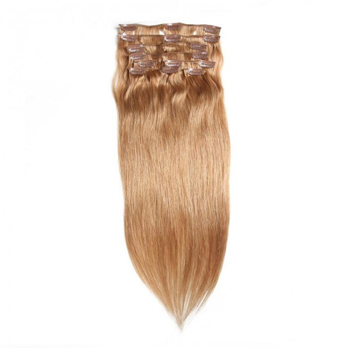 UNice 115g #27 Blonde Clip In Cheveux Vierge Cheveux Extensions 8Pcs/set