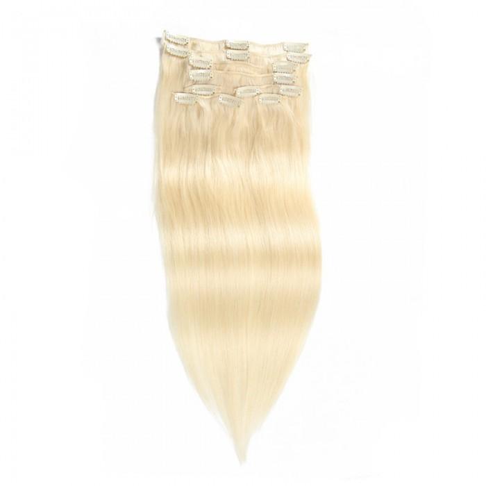 UNice 115g #60 Blonde Clip In Cheveux Vierge Cheveux Extensions 8Pcs/set