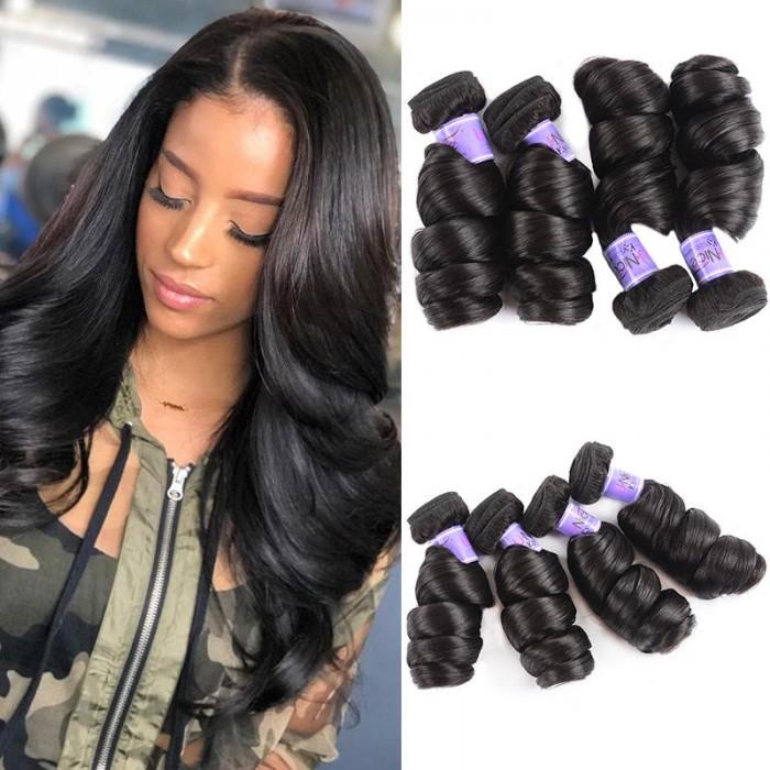UNice Cheveux Kysiss Séries Virgin+ Malaisien Loose Wave Vierge Cheveux 4 Paquets 8A Produits