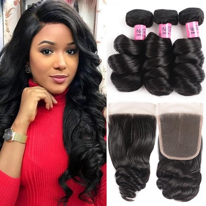 UNice  Série Icenu cheveux   3 Bundles Cheveux Ondulés En Vrac Et Fermeture 100 Cheveux Humains Vierges