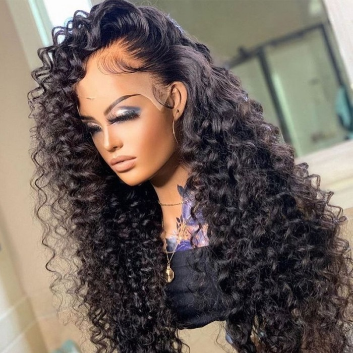 UNice Noire Africaine Spirale Curl Lace Front Perruques Humain Cheveux