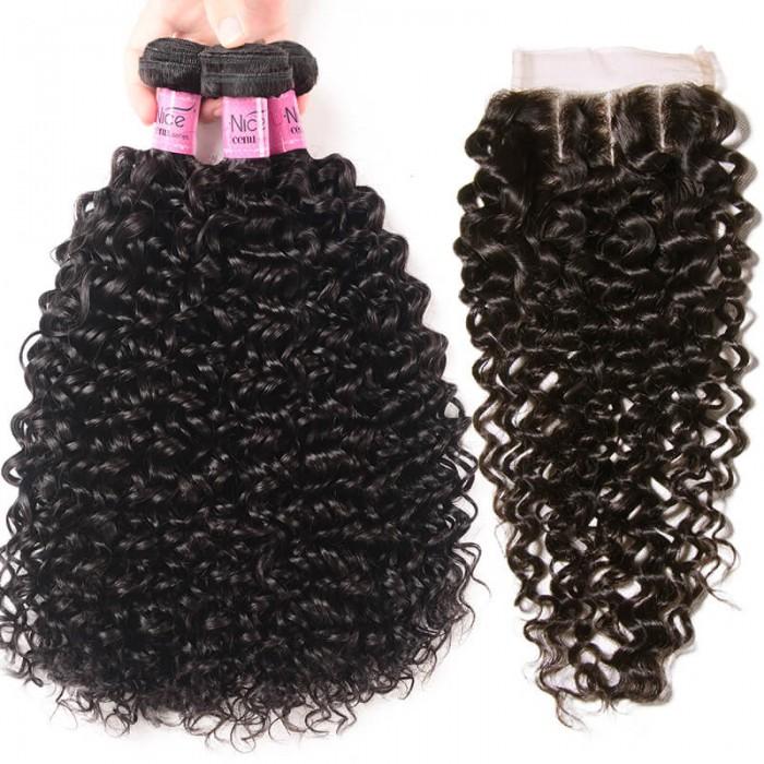 UNice Cheveux 3 Bundles brésilien Jerry Curly Tissage Cheveux avec closure Icenu série