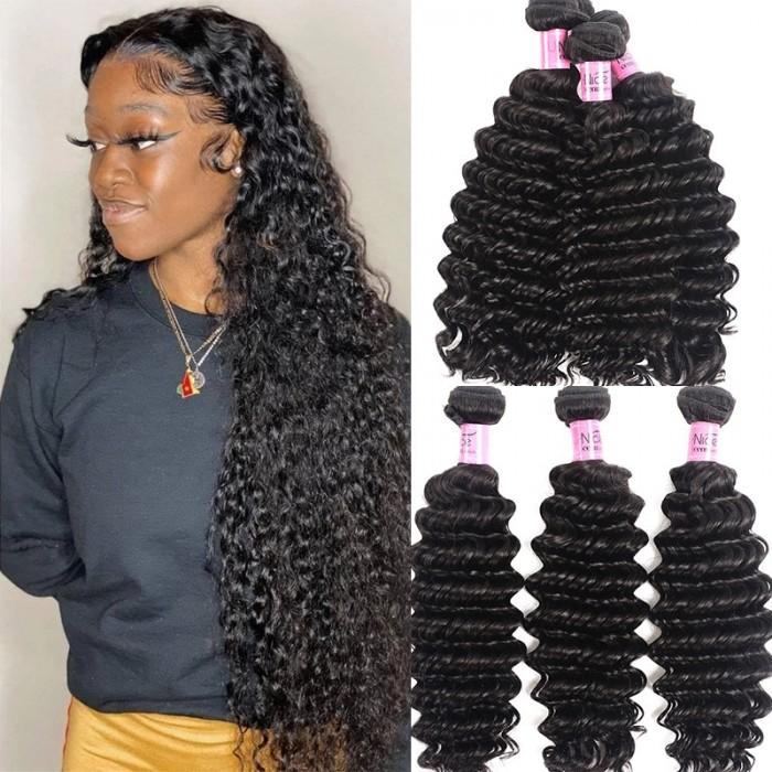 UNice Cheveux Icenu Série Bonne Qualité 3 Bundles Cheveux Vierges Humains Pas Cher Cheveux Vague Profonde