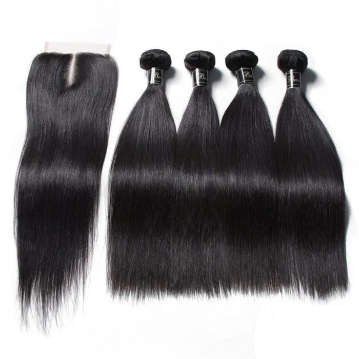 UNice Cheveux  4 faisceaux Premium catégorie Non Transformés Vierges Cheveux Raides Avec Fermeture En Dentelle Banicoo Série