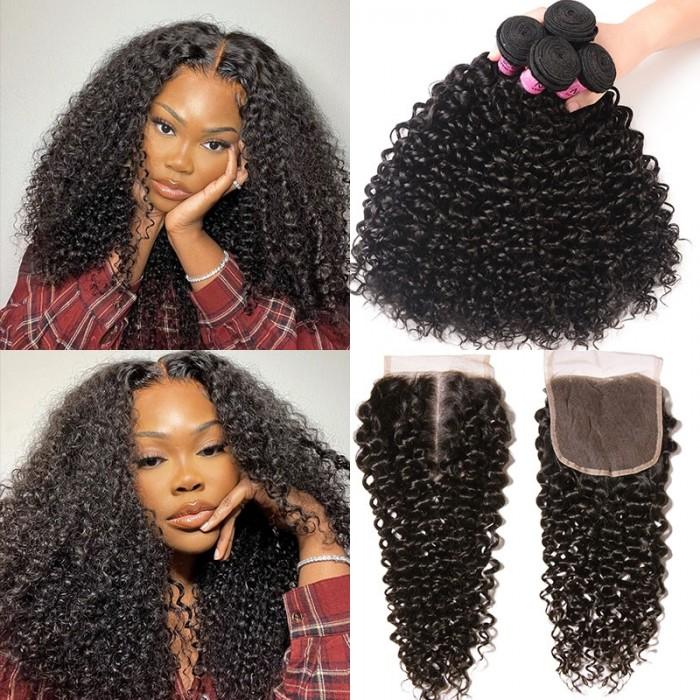 UNice Cheveux Icenu Séries 4 Paquets Brésilien Vierge Jerry Curly Cheveux Avec Closure en Dentelle