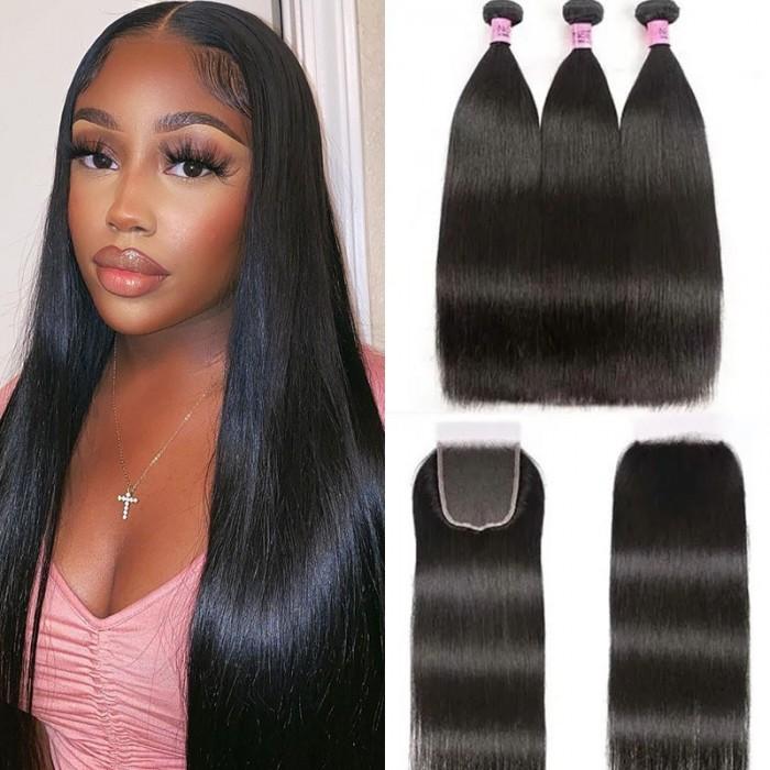 UNice Cheveux Lisse Raides en 5x5 HD Lace Closure avec 3 Paquets de Tissage Naturel Vierge Cheveux Humains Lace Transparent