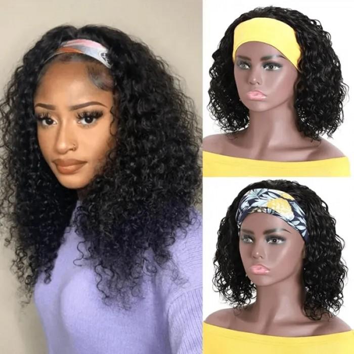 UNice Top Qualité Perruque Bandeau Courte Bob Water Wave Naturelle Couleur Humain Cheveux 150% Densité