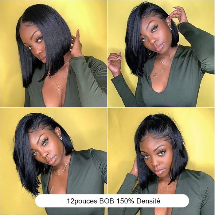 UNice Cheveux 4X4 Closure de Dentelle Bob Perruque Lisse Noir Naturel Cheveux Humains Abordable Perruque courte Wigs Séries Bettyou