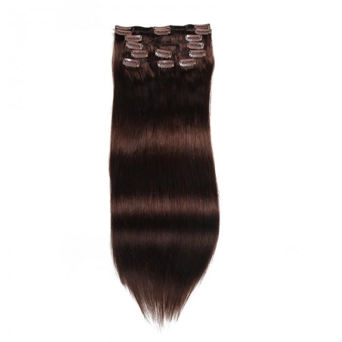 UNice 115g #2 Sombre Marron Clip In Cheveux Extensions Vierge Cheveux 8Pcs/set