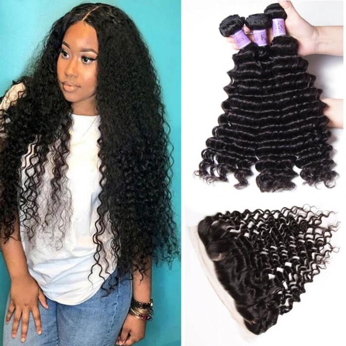 UNice Cheveux Kysiss Series Qualité 3 Paquets Deep Wave Cheveux Humains Avec Frontale en Dentelle