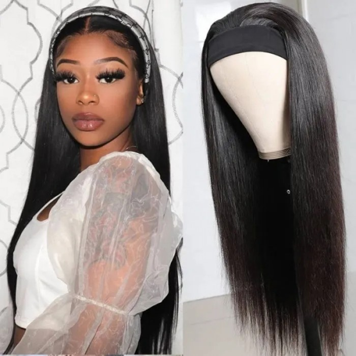 UNice Top Qualité Perruque Bandeau Droit Naturelle Couleur Humain Cheveux