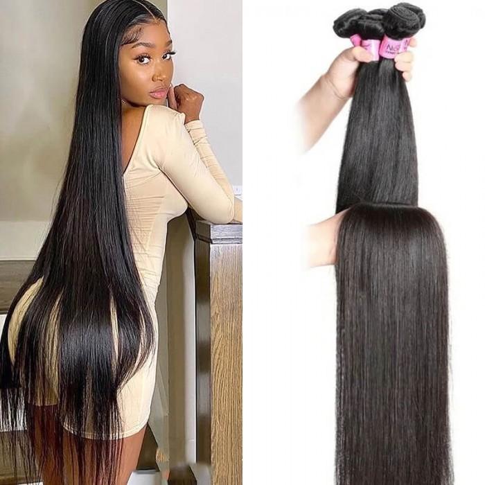 UNice cheveux humains longs et droits 34 pouces 36 pouces 38 pouces 40 pouces vierge cheveux humains droits 1 paquet couleur naturelle série Icenu