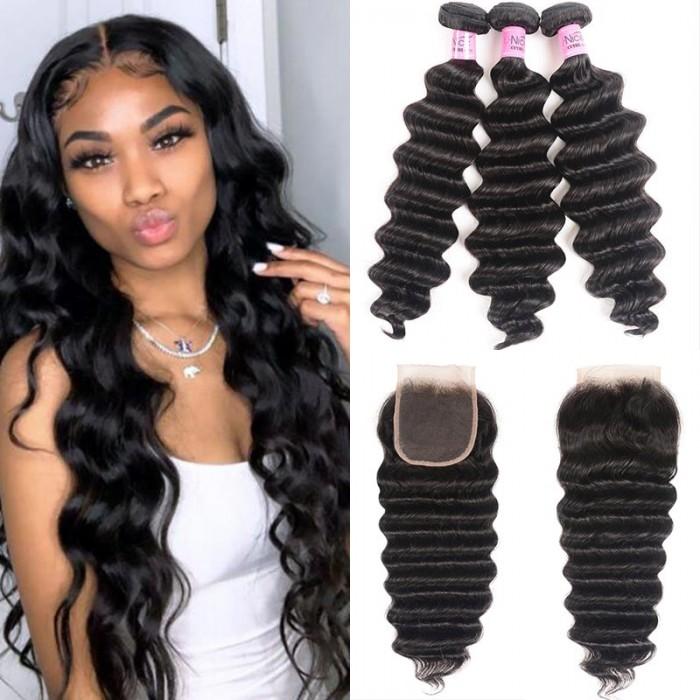 UNice Cheveux Icenu Séries 3 paquets des Loose Deep Wave Cheveux Humains Vierges avec Closure en Dentelle