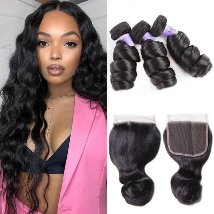 UNice cheveux Kysiss série Malaisienne de bonne qualité 3 pcs lâche vague cheveux avec dentelle fermeture