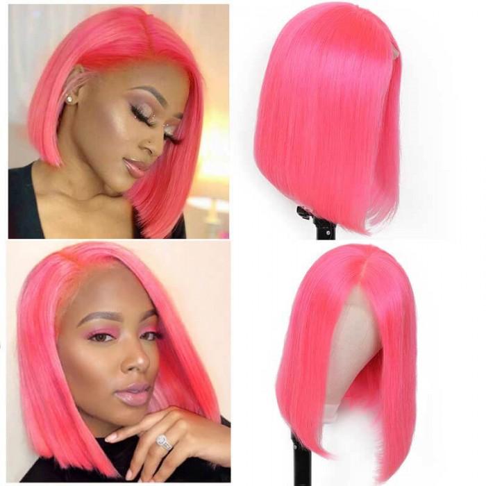 UNice Perruque Colorée Rosée Bob en 13*4 Dentelle frontal Lace Wig 100% Cheveux Humains Bettyou Séries