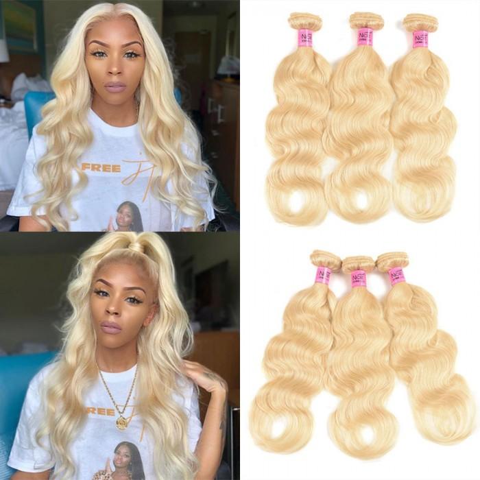 Unice cheveux 3 faisceaux 613 Blonde Virgin vierges des cheveux humains vagues corporels des cheveux
